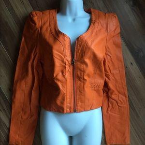 Voyelles Orange Faux Leather Jacket - Size 4